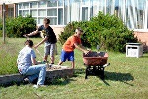 Volunteers Help Clean Up Gilbert Elementary School in Gwinn