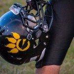 The Gwinn G on a Varsity football helmet