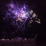Big Pyrotechnics over the football field at Gwinn High School