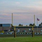 Evening setting on the football field at Gwinn High School