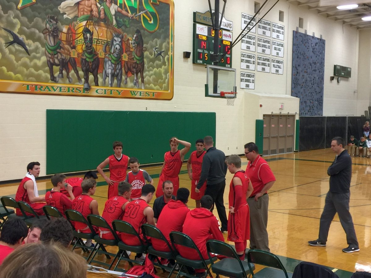 The Marquette Redmen taking a time out