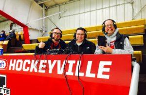 The Redmen hockey broadcast team