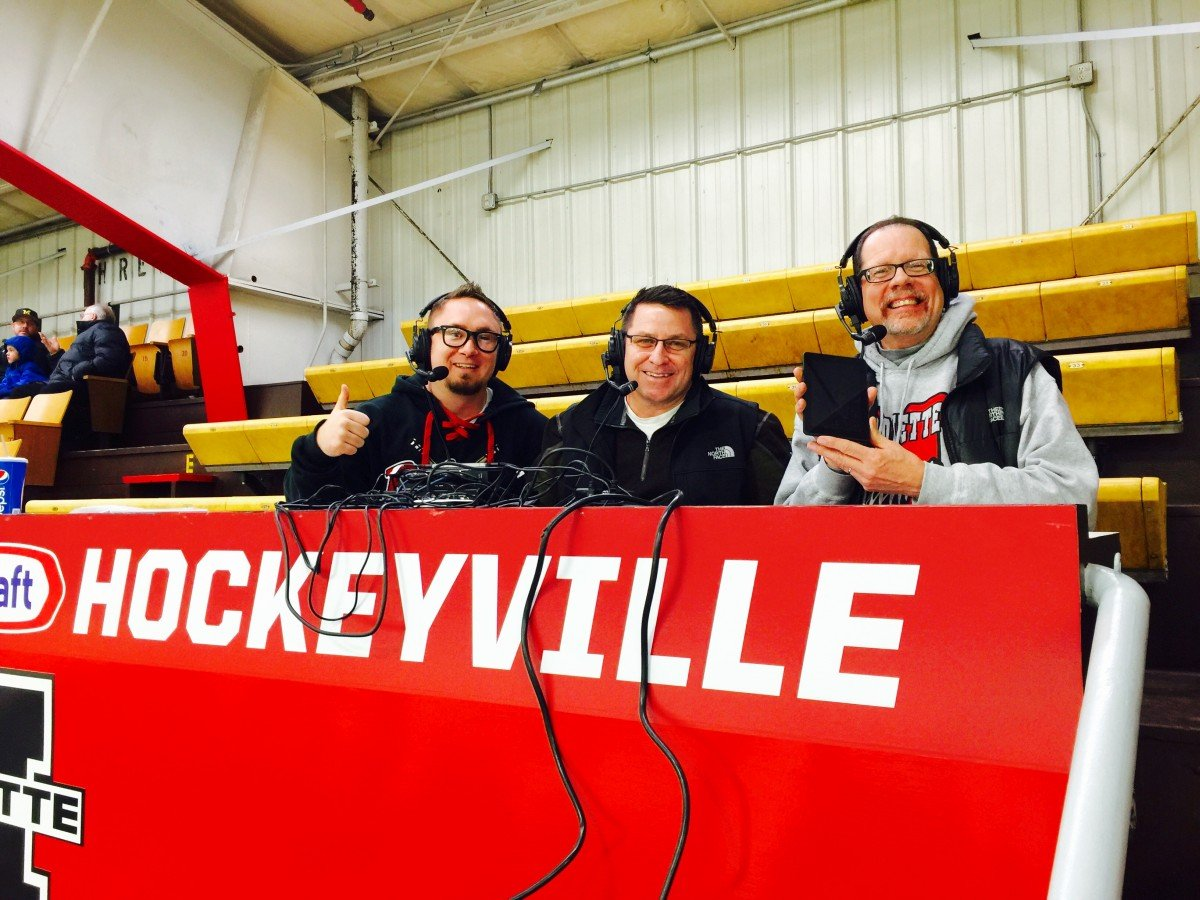 The Redmen hockey broadcast team