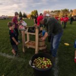 Making fresh apple cider right there on the field, how cool?