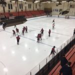 Marquette Redmen go through their warm up routine.