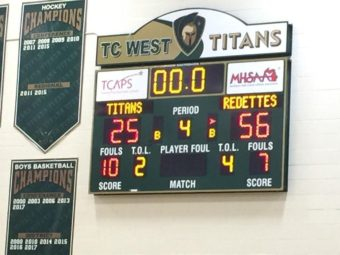 The scoreboard after the Marquette Redettes' emphatic victory