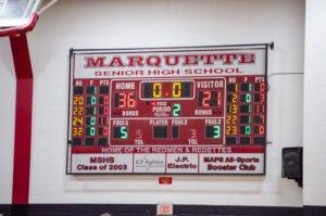 Marquette Redmen vs Ishpeming Hematites halftime scoreboard