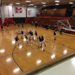 The Marquette Redettes warming up before the game