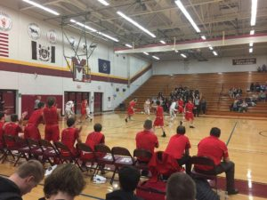 The Marquette Redmen bring the ball up court