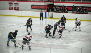 The referee drops the puck at center ice