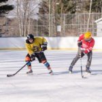 Enjoy some traditional outdoor ice hockey.