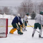 The boys had a great time playing outside on the ice.