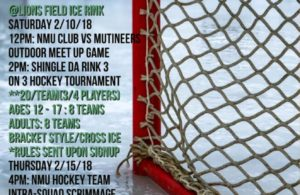 Enjoy a weekend of hockey at Lions Field Ice Rink!