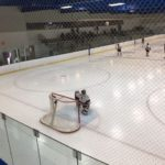 Marquette goaltender Dylan Sibilsky is preparing for the second period to begin