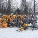 The NMU Hockey Team at Lions Field for the Ice Under Cover Hockey Bash Scrimmage game.