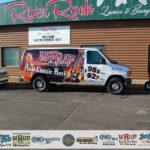 WRUP Van in front of River Rock Lanes in Ishpeming, Michigan
