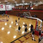 The Redettes warming up before the game