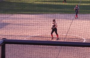 Marquette pitcher Megan McIntire getting set to pitch
