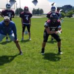 Red Team practicing outside during U.P. All-Star Week.