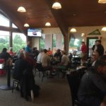 The course was rained out so everyone hung out in the Clubhouse!