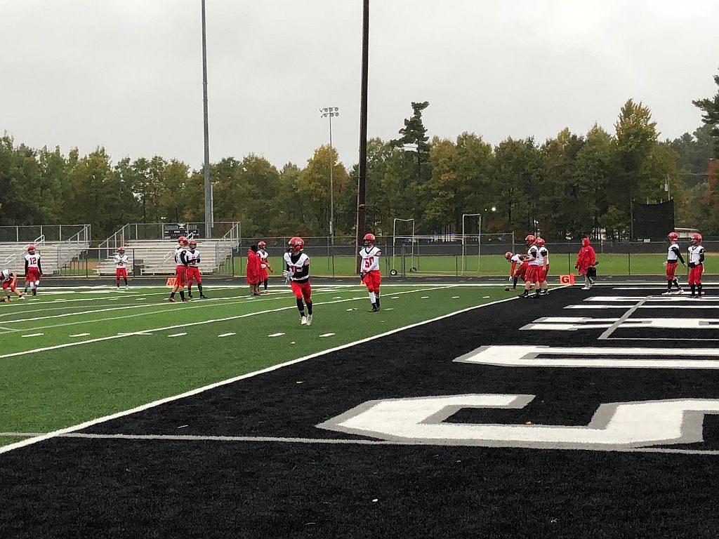 The Redmen prepare to take on the Lakeland Union Thunderbirds.