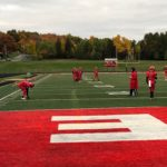 The Marquette Redmen warm up for a battle against the Gladstone Braves.