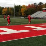 The Redmen warm up for their last home game of the 2018 season.
