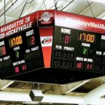 A shot of the scoreboard as the Redmen take on the Gremlins at home.