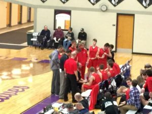 The Marquette Redmen getting some good advice from their coaches during the game on 97.5 GTO-FM