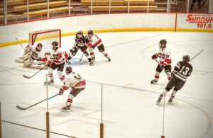 The Marquette Redmen hockey team kills a penalty at home on 97.5 GTO-FM