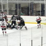 One of the Redmen's many scoring chances against the West Ottawa Panthers on Friday night