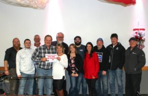 The Great Lakes Radio and Meyer Yamaha staff with giveaway winner, James Maki.