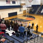 The National Anthem plays ahead of the Redettes-Northmen match-up.