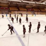 Marquette warms up ahead of their game against the Sault Ste Marie Blue Devils.