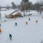 An aerial view of the ice rink during today's game.