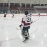 Tyler Bergwall gets ready to protect the Redmen goal.