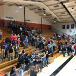 Escanaba fans cheer on the Eskymos.