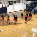 Redettes warm up for their Blue Devils match-up.