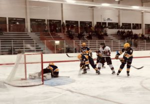 Some action at the Huskies' goal.