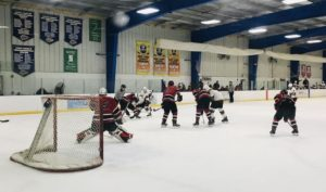 The Marquette Redmen get set to take a face-off in their zone against the Davison Cardinals Friday on FSM