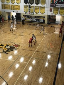View from above the Marquette Redmen's basket during Thursday's game in Negaunee
