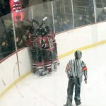 The Marquette Redmen celebrate after one of their goals