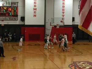 Action in the Redmen's end of the court