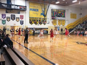 Some action at the Redettes' hoop.