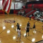 A Redmen goes for the lay-up.