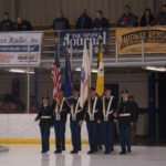 The NMU ROTC Color Guard presenting the colors.