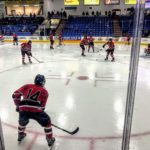 The Redmen warm up ahead of their game against the Trenton Trojans.
