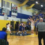 Grazulis finishes his shot at the free throw line.