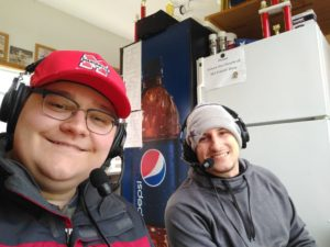Luke G. and Tyler Y. in the announcer's booth