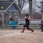 Gabby Swajanen making solid contact to put the ball in play
